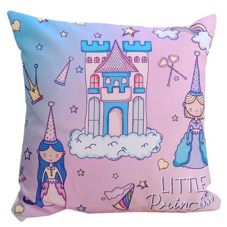 Δίχρωμο μαξιλάρι με σχέδιο πριγκίπισα, σε ροζ χρώμα, 35x35cm