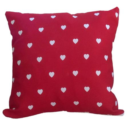 Δίχρωμο μαξιλάρι με σχέδιο μικρές καρδούλες, 35x35cm
