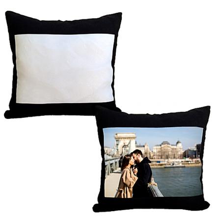 Μαύρο μαξιλάρι με λευκό παράθυρο για εκτύπωση, 35x35cm