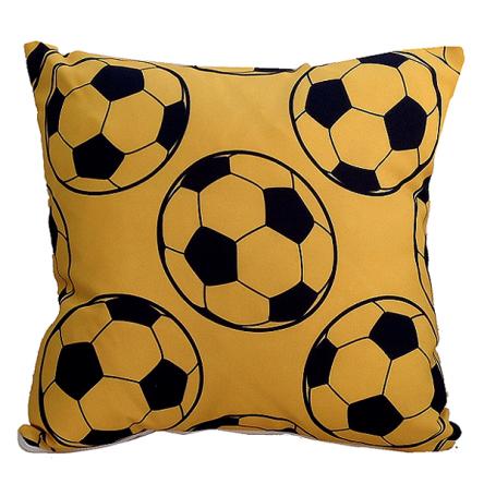 Δίχρωμο μαξιλάρι με σχέδιο κίτρινες μπάλες, 35x35cm