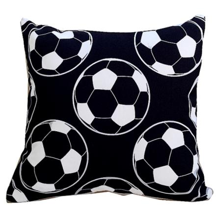 Δίχρωμο μαξιλάρι με σχέδιο μαύρες μπάλες, 35x35cm