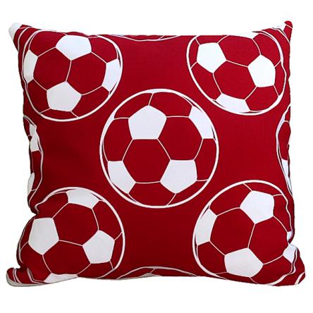Δίχρωμο μαξιλάρι με σχέδιο κόκκινες μπάλες, 35x35cm