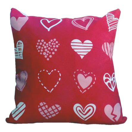 Δίχρωμο μαξιλάρι με σχέδιο κόκκινες καρδιές, 35x35cm