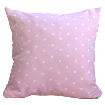 Δίχρωμο μαξιλάρι με σχέδιο πουά, σε ροζ χρώμα, 35x35cm