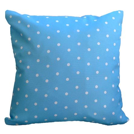 Δίχρωμο μαξιλάρι με σχέδιο πουά, σε γαλάζιο χρώμα, 35x35cm