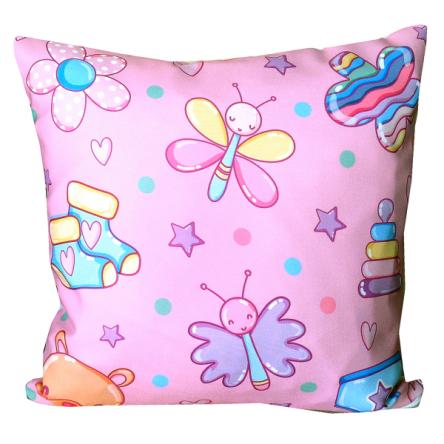Δίχρωμο μαξιλάρι με παιδικά σχέδια, σε ροζ χρώμα, 35x35cm