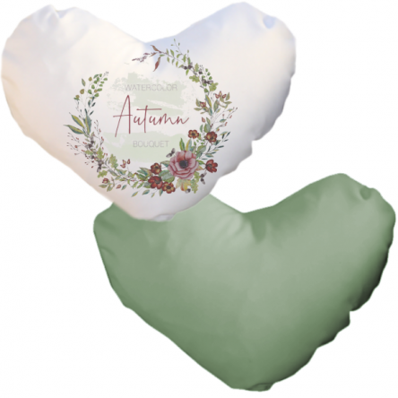 Δίχρωμη ματ μαξιλαροθήκη καρδιά, για εκτύπωση, Λευκό – Λαδί