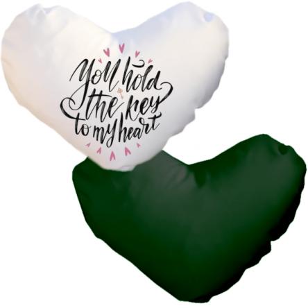 Δίχρωμη ματ μαξιλαροθήκη καρδιά, για εκτύπωση, Λευκό -Πράσινο Σκούρο