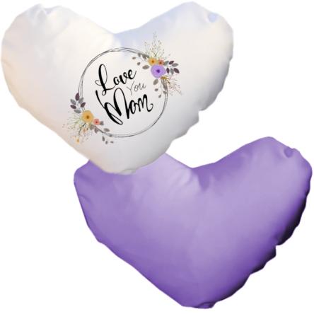 Δίχρωμη ματ μαξιλαροθήκη καρδιά, για εκτύπωση, Λευκό – Μωβ