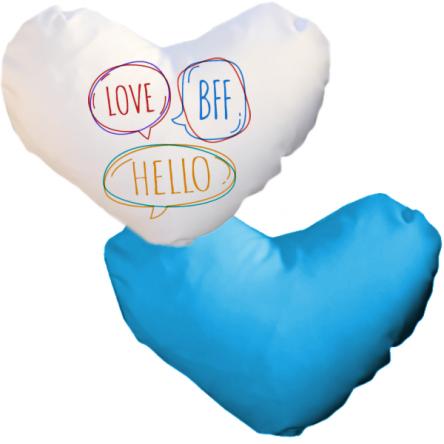 Δίχρωμη ματ μαξιλαροθήκη καρδιά, για εκτύπωση, Λευκό – Μπλε Ανοιχτό