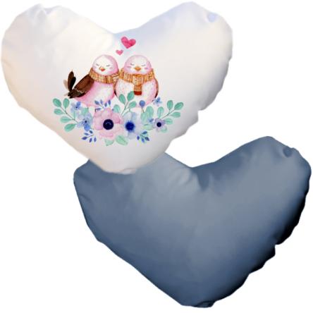 Δίχρωμη ματ μαξιλαροθήκη καρδιά, για εκτύπωση, Λευκό – Μπλε Ραφ
