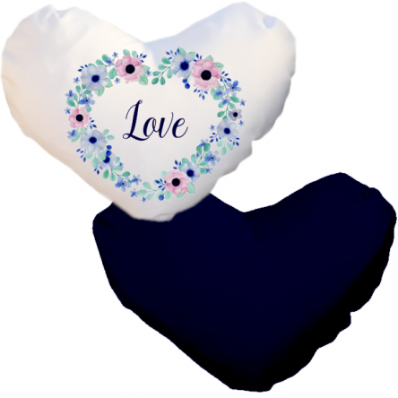 Δίχρωμη ματ μαξιλαροθήκη καρδιά, για εκτύπωση, Λευκό – Μπλε Σκούρο