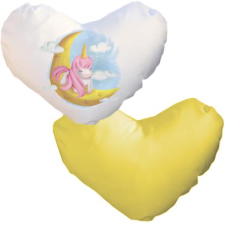 Δίχρωμη ματ μαξιλαροθήκη καρδιά, για εκτύπωση, Λευκό – Κίτρινο