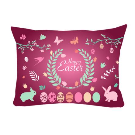 """Δίχρωμο μαξιλάρι """"Happy Easter"""", 43x30cm, προσωποποιημένο φωτογραφικό δώρο"""
