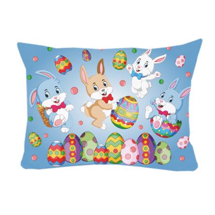 """Δίχρωμο μαξιλάρι """"Κουνελάκια & αυγουλάκια"""", 43x30cm, προσωποποιημένο φωτογραφικό δώρο"""