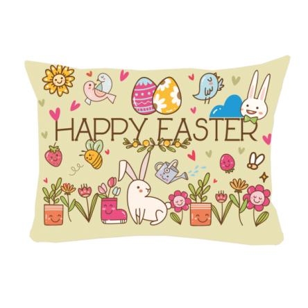 """Δίχρωμο μαξιλάρι """"Αυγουλάκια – Λουλουδάκια"""", 43x30cm, προσωποποιημένο φωτογραφικό δώρο"""