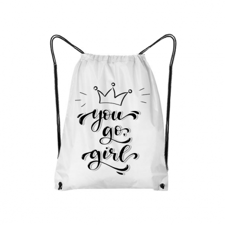 Τσάντα πλάτης σε λευκό χρώμα με κορδόνια