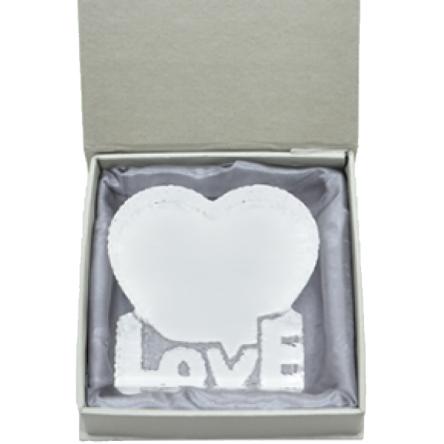 Γυάλινη καρδιά μεγάλη με Love 14,5×14,5cm