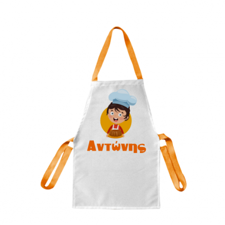 Μικρή λευκή παιδική ποδιά με πορτοκαλί ιμάντες στη μέση & στο λαιμό, για προσωποποιημένο δώρο ή σχολικό ενθύμιο