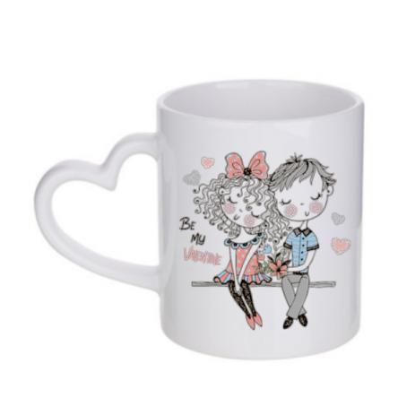 Λευκή κούπα με χερούλι σε σχήμα καρδιά, προσωποποιημένο δώρο για ερωτευμένους