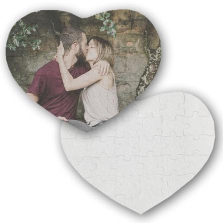 Παζλ καρδιά από τσόχα, για προσκλητήριο γάμου – βάπτισης, 19x27cm, με 30κομ.