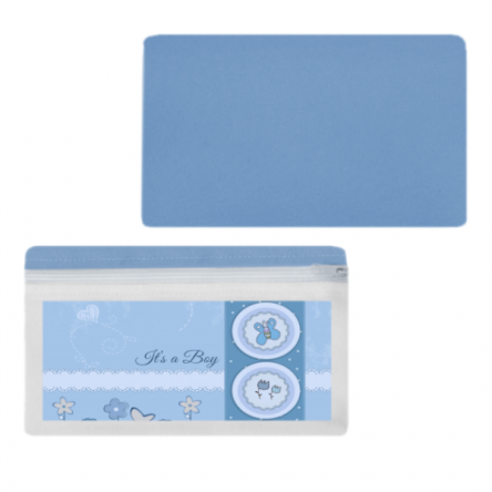 Υφασμάτινη κασετίνα για μπομπονιέρα βάφτισης, 20x10cm, γαλάζιο