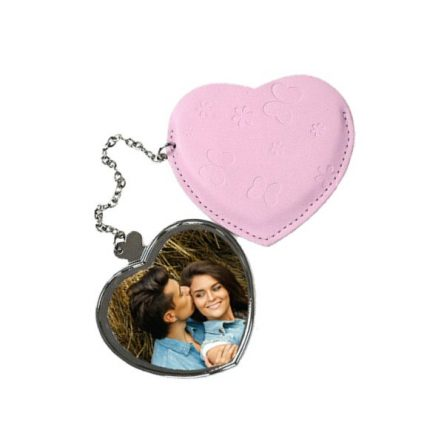 Mεταλλικό καθρεφτάκι σε σχήμα καρδιά, σε ροζ θήκη, για εκτύπωση sublimation