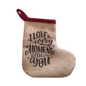 Κρεμαστή λινή μπότα για το χριστουγεννιάτικο δέντρο, ένα στολίδι για χειροποίητο στυλ και προσωποποίηση