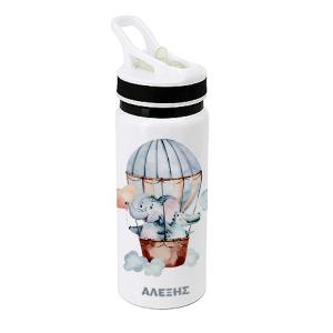Μπουκάλι νερού - θερμός, 650ml, σε λευκό χρώμα, οικονομικό με βιδωτό καπάκι και πιπίλα- Τυπώνεται με sublimation